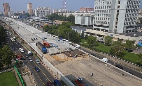 Стройка эстакады на Щелковском шоссе