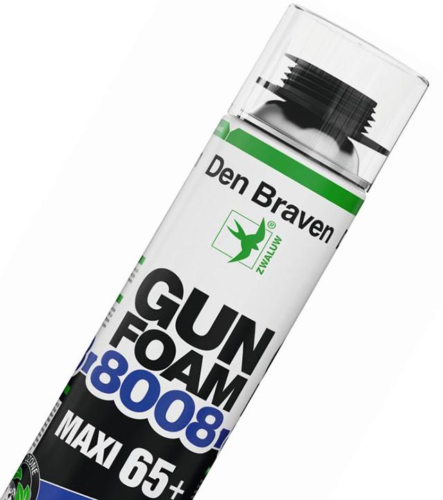 Монтажная пена с ультравысокой эффективностью на выходе GUN FOAM 8008 MAXI 65+, Den Braven