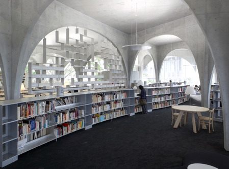 Фасады, окна, Hi House, Tama Art University Library