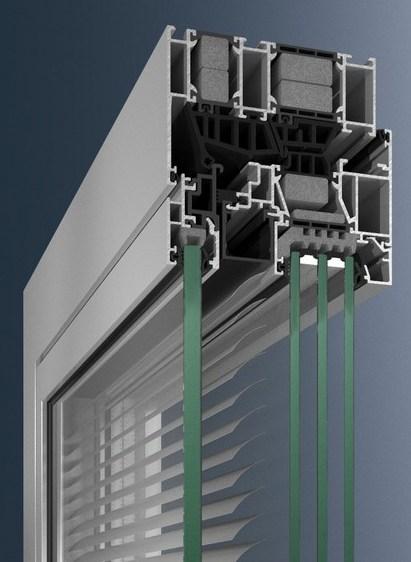 Алюминиевое окно Schüco AWS 120 CC.SI со встроенными жалюзи Schüco CCB