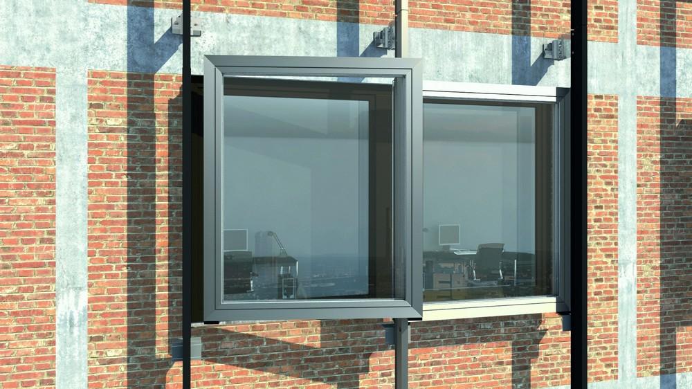 Модернизированный фасад Schüco ERC 50, алюминиевые окна