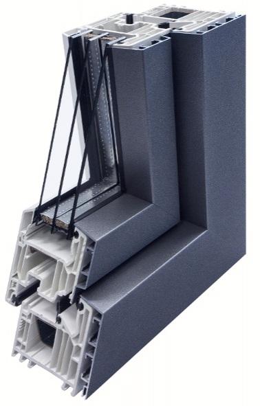 Пластико-алюминиевое окно на базе Veka Softline 82, ALURON