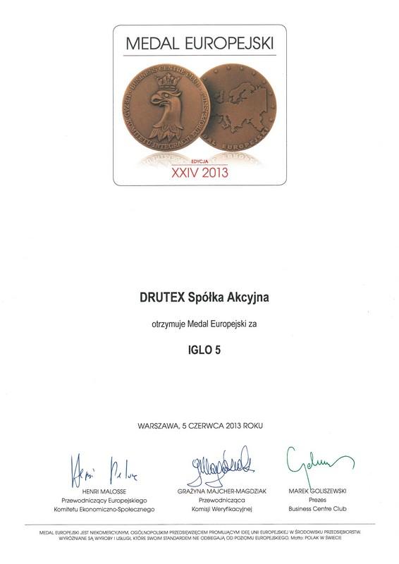 Пластиковое окно IGLO 5, DRUTEX, «Европейская медаль»